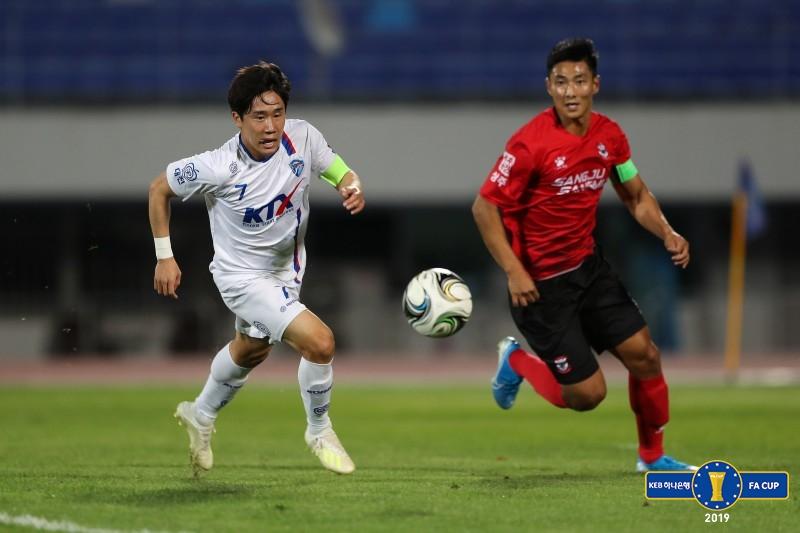 '이근원 동점골' 대전 코레일, '류승우 골' 상주와 1-1 극적 무승부