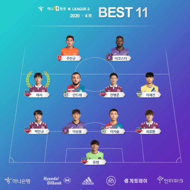 '수원FC만 5명' K리그2 라운드 베스트11 발표...MVP 마사